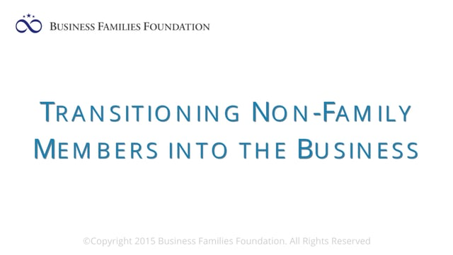 Transitioning Non-Family Members into the Business