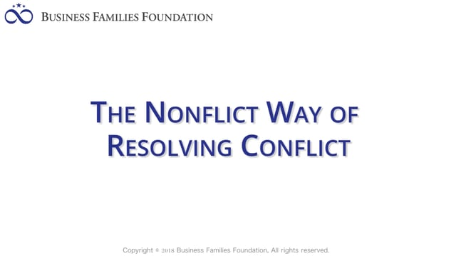 The Nonflict Way of Resolving Conflict